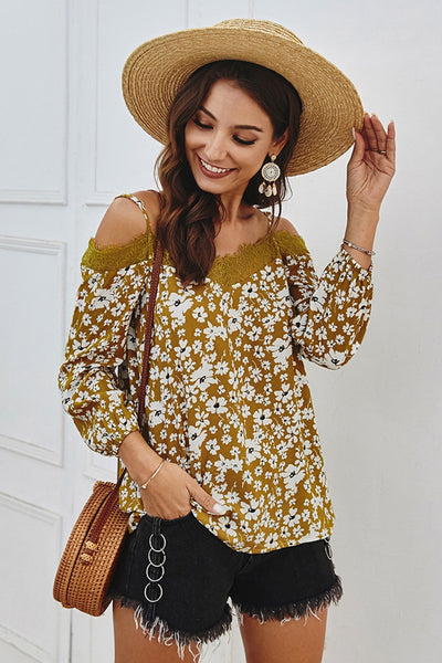 Camila Floral Print Off the Shoulder Top with Lace