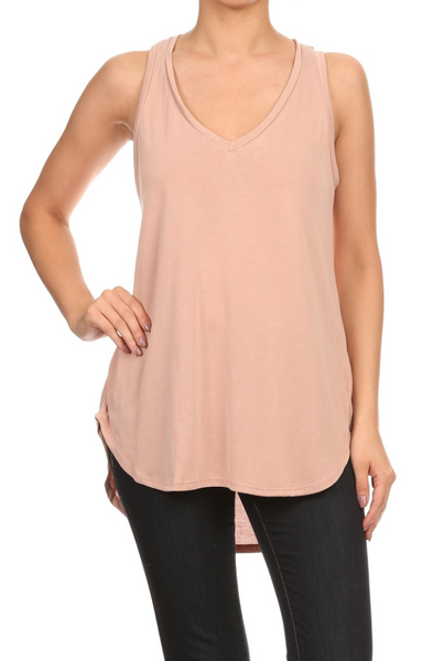 Mindy Light Pink V-Neck Hi-Lo Tank