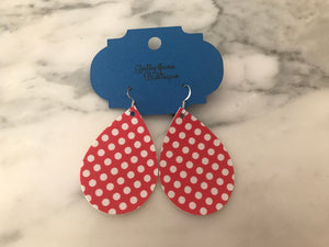 Red Dot Teardrop Earring