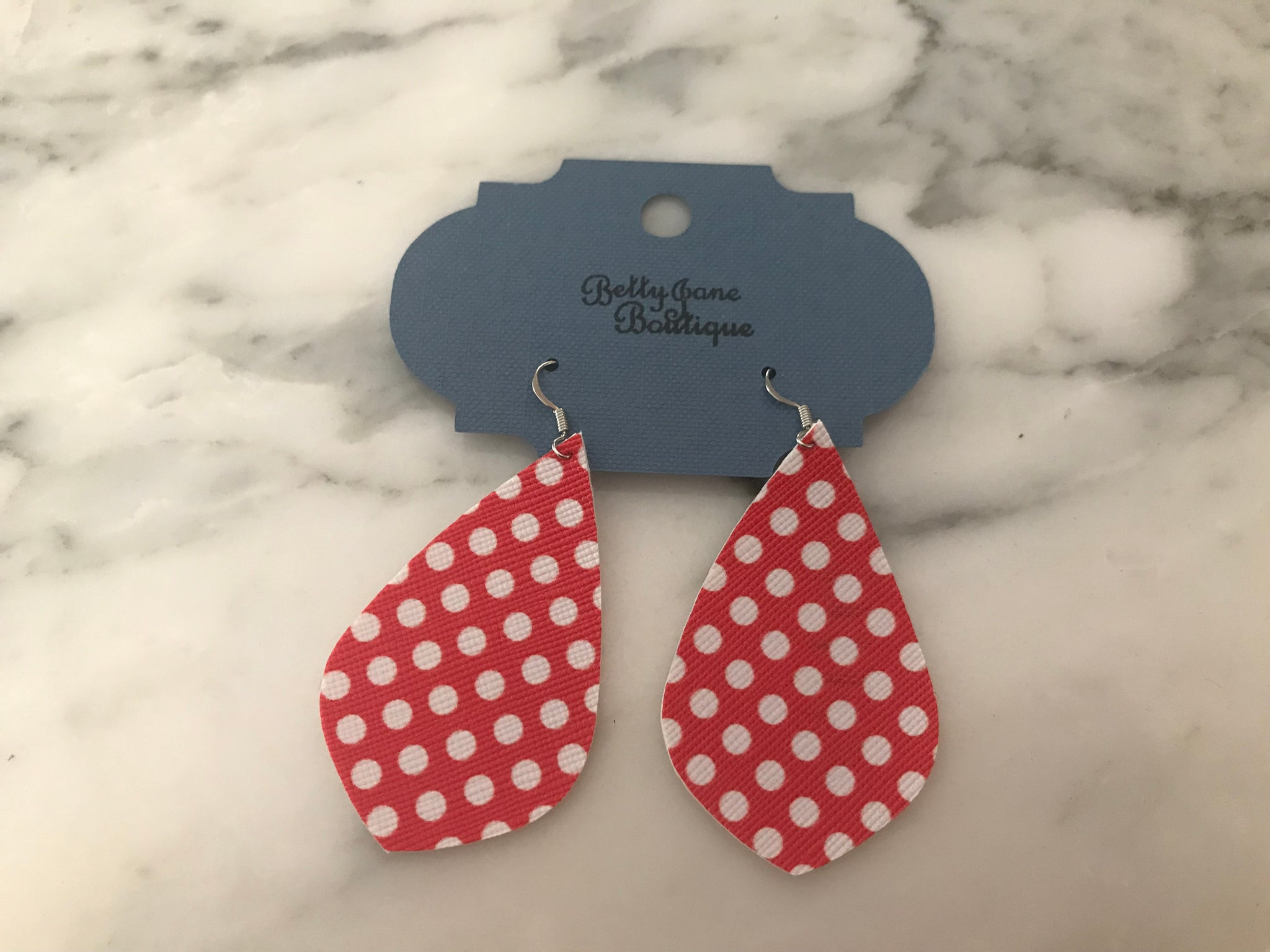 Red Dot Pointed Teardtop Earring