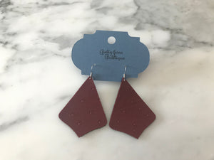 Burgundy Ostrich Exaggerated Pointed Teardrop Earring
