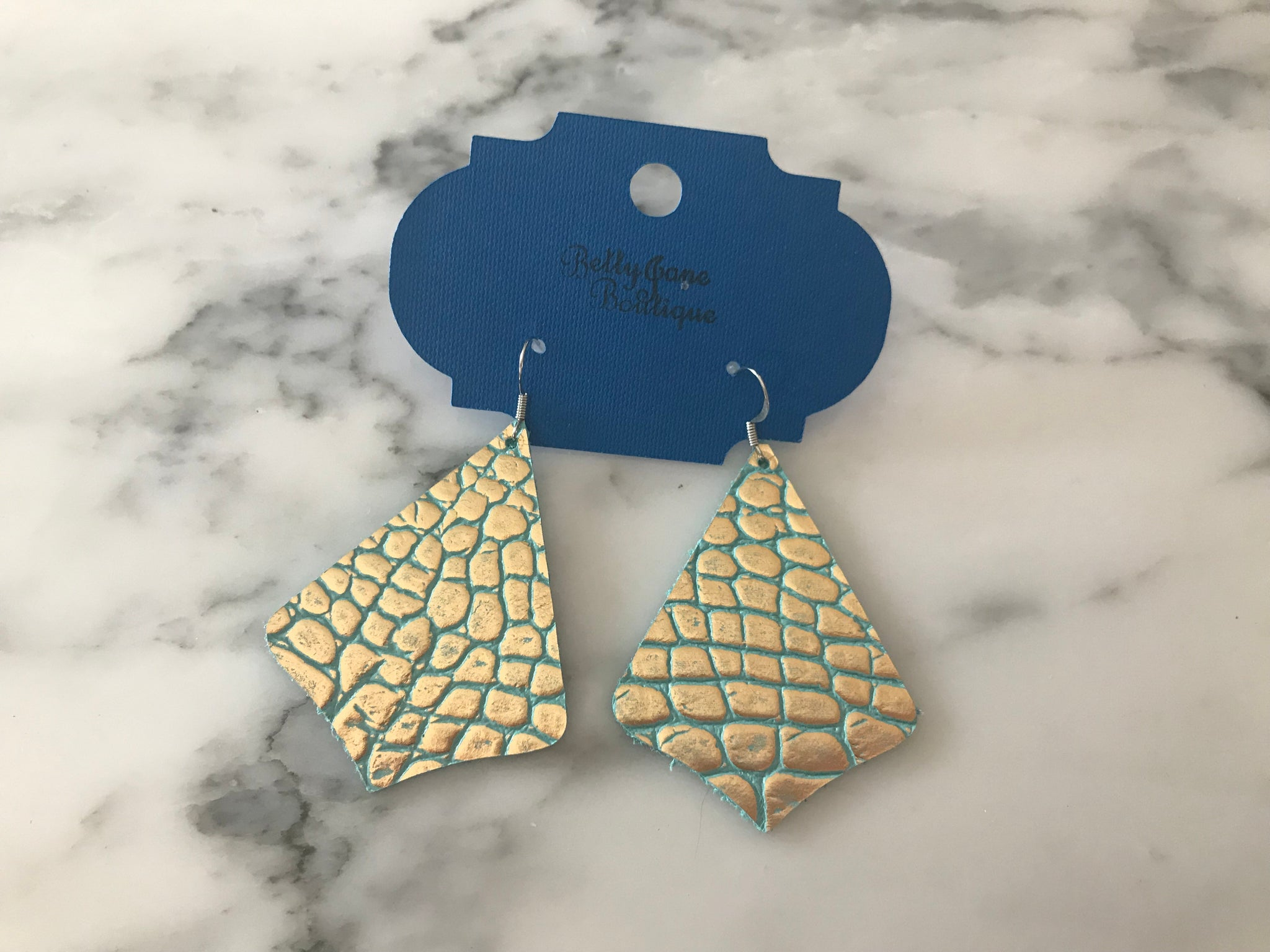 Metallic and Teal Crocodile Exaggerated Pointed Teardrop Earring