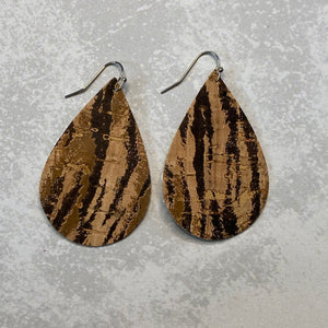 Brown and Black Tiger Print Cork Teardrop Earrings