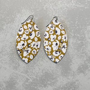 Mustard Poppy Print Leaf Earrings