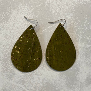 Olive Green with Gold Fleck Cork Teardrop Earrings