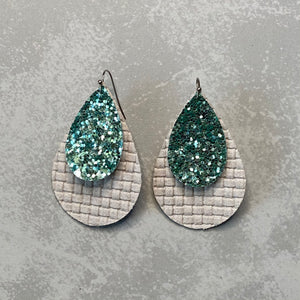 Mint Disco Teardrop Earrings