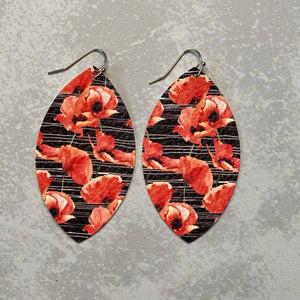 Black and Coral Lily Print Leaf Earrings