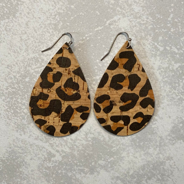 Brown & Black Leopard Print Cork Earrings