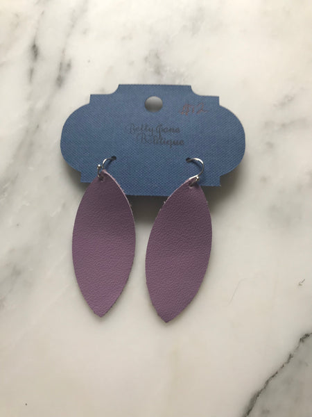 Lilac Marquise Leather Earrings