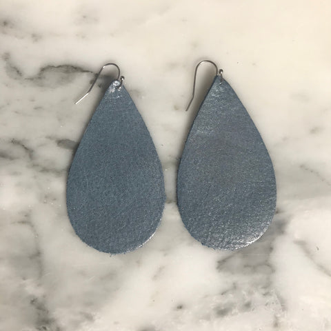 Blue Moon Dust Leather Teardrop Earrings 2005