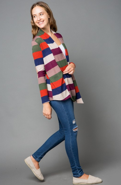 Tanya Multi Stripe Print Cardigan with Elbow Patches
