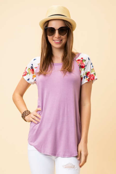 Gaby Lilac Top with Contrast Floral Short Sleeve