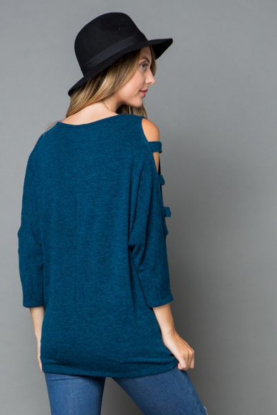 Stella Marled Three Quarter, Open Sleeve Sweater