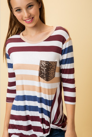 Becky Burgundy Stripe Three Quarter Sleeve Top