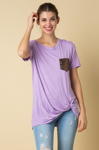 Sam Lavender Short Sleeve Top with Knot Detail
