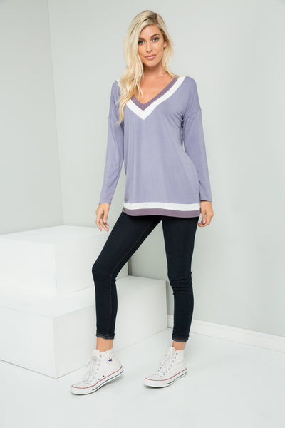 Vanessa Lavender Long Sleeve V-neck Top