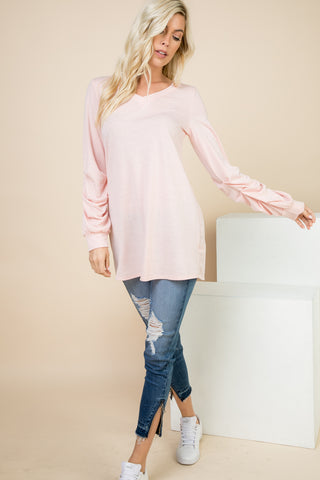 Leah Blush V-neck Tunic with Ruched Sleeve