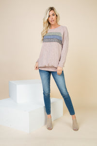 Madison Pink Sand Color Block Top
