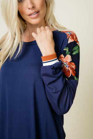 Evelyn Navy Long Sleeve Top with Floral Contrast