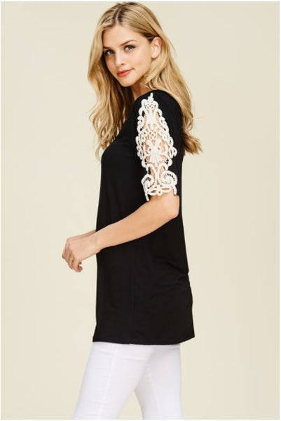 Sophia Three Quarter Sleeve Top with Crochet Detail