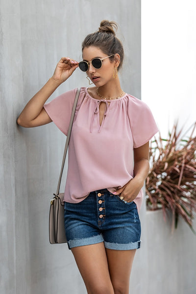 Charlotte Short Sleeve Blouse with Flutter Sleeve
