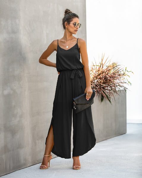 Olivia V-Neck, Sleeveless Flowing Jumpsuit