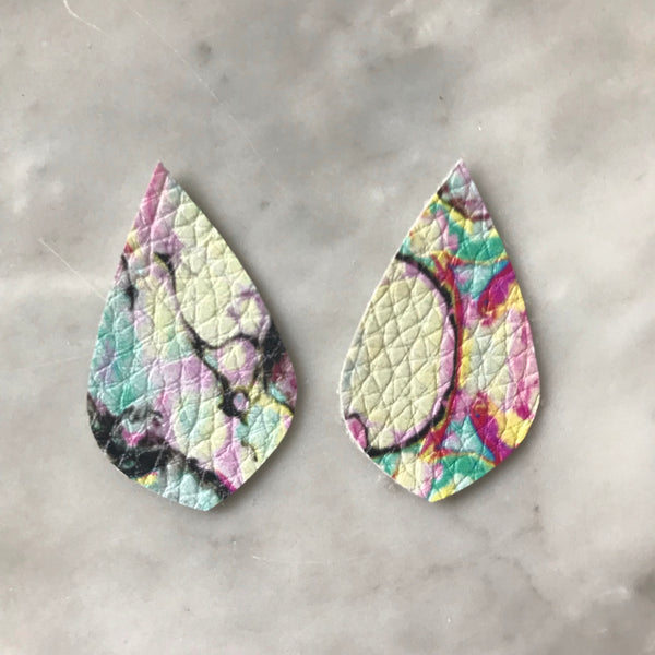 Pastel Marbled Faux Leather Earrings