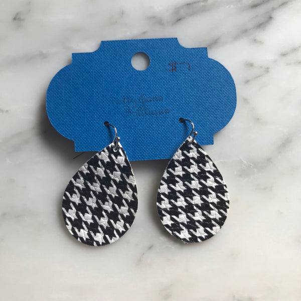 Houndstooth Teardrop Faux Leather Earring