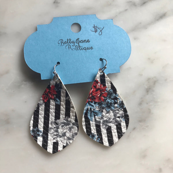 Floral and Striped Pointed Teardrop Faux Leather Earring