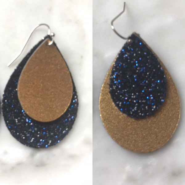 Gold Shimmer and Royal Blue and Black Glitter Teardrop Earrings