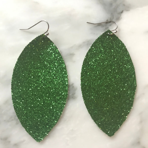Green Glitter Faux Leather Earrings