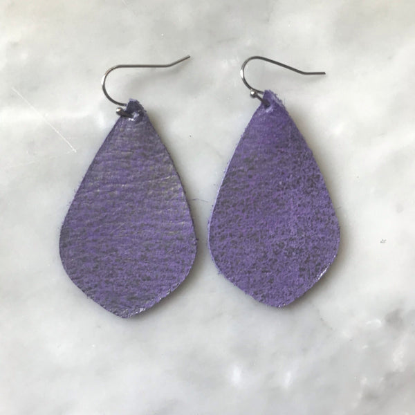 Purple Smoke Leather Earrings