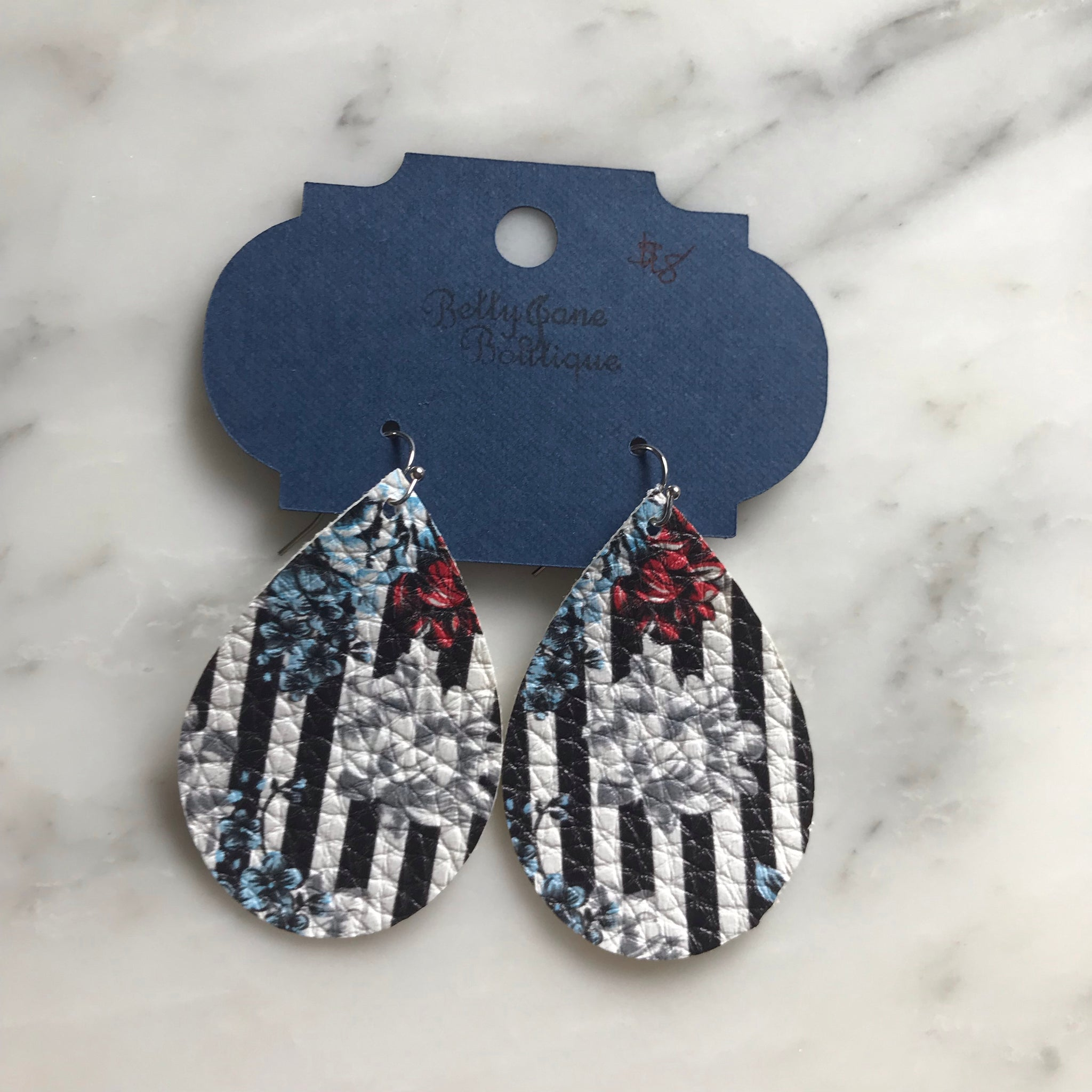 Floral and Striped Teardrop Faux Leather Earring