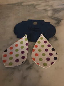Multi-colored Polka Dot Pointed Teardrop Earrings