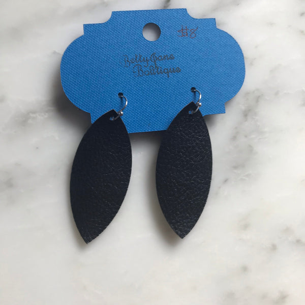 Black Pebbled Marquise Faux Leather Earring