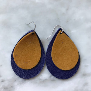 Purple Leather Teardrop with Mustard Suede Accent