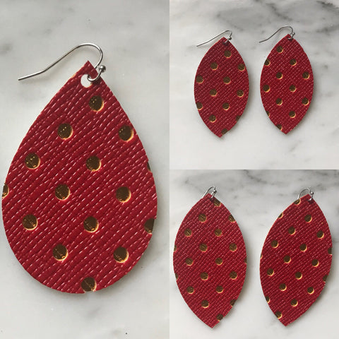 Red with Gold Metallic Dot Faux Leather Earrings