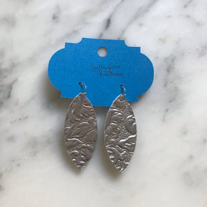 Silver Metallic Embossed Marquise Leather Earring