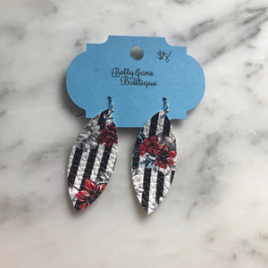 Floral and Striped Marquise Faux Leather Earring