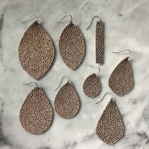 Metallic Peach Stingray Leather Earrings