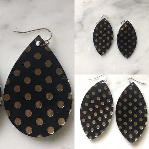 Black with Gold Metallic Dot Faux Leather Earrings