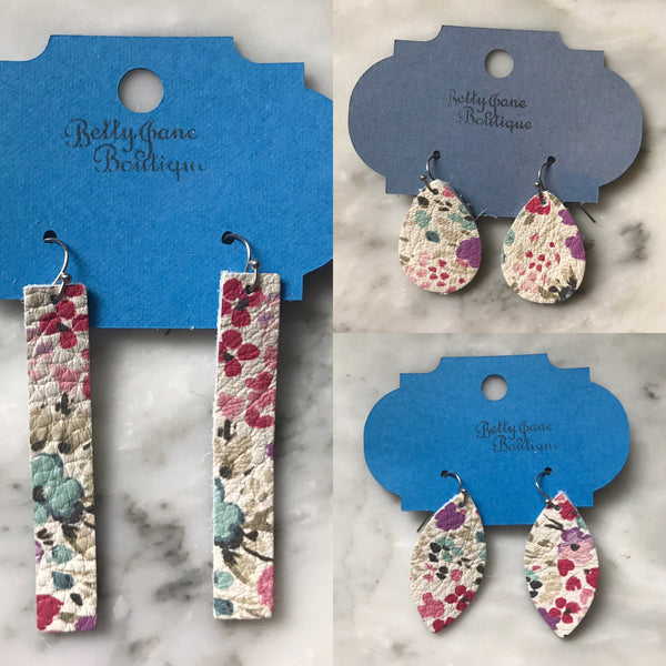 Watercolor Floral Leather Earrings