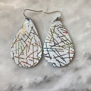 Rainbow Metallic Foiled Teardrop Leather Earrings