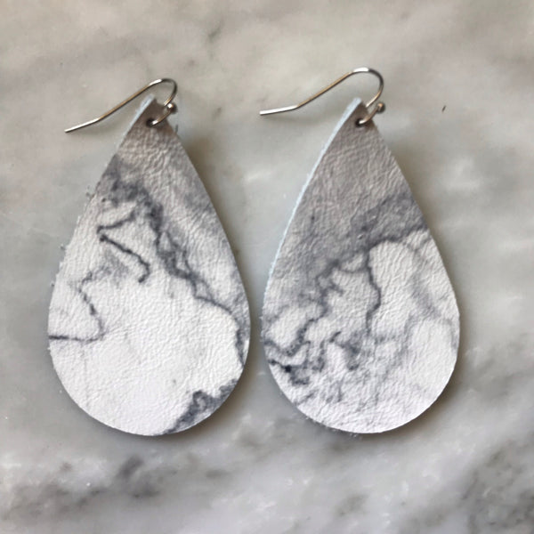 Gray and White Marbled Teardrop Leather Earrings