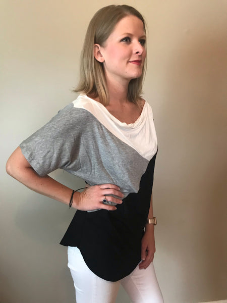 Micci Black, Gray, and Ivory Color Block Top