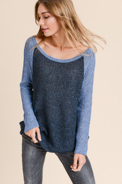 Courtney Raglan Sleeve Waffle Knit Top with Elbow Patch