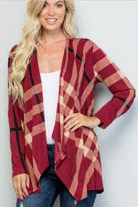Samantha Red Plaid Open Front Cardigan