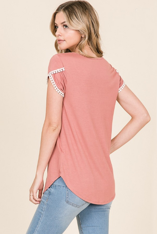 Loretta Brick Solid Crew Neck Top with Crochet Detail on Tulip Short Sleeves