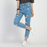High Waist Ripper Boyfriend Jeans