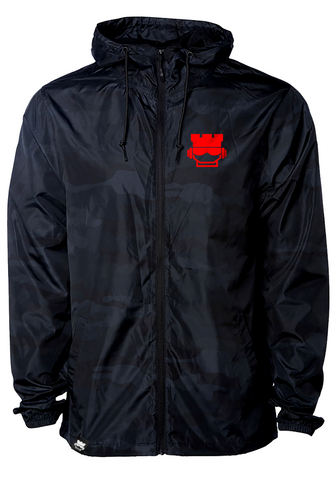 Stealth Zip Windbreaker - Black Camo / Red